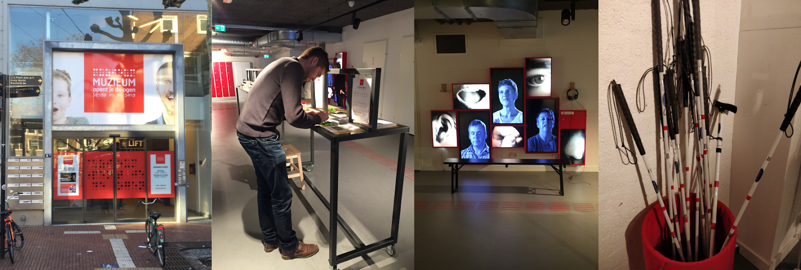 4 images from the blind experience in Nijmegen. A view from the outside. A developer trying an interactive experience. Some video screens and a bucket of white canes.